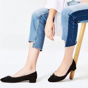 [Zara TRF] Black Suede Ballet Flats Low Heel